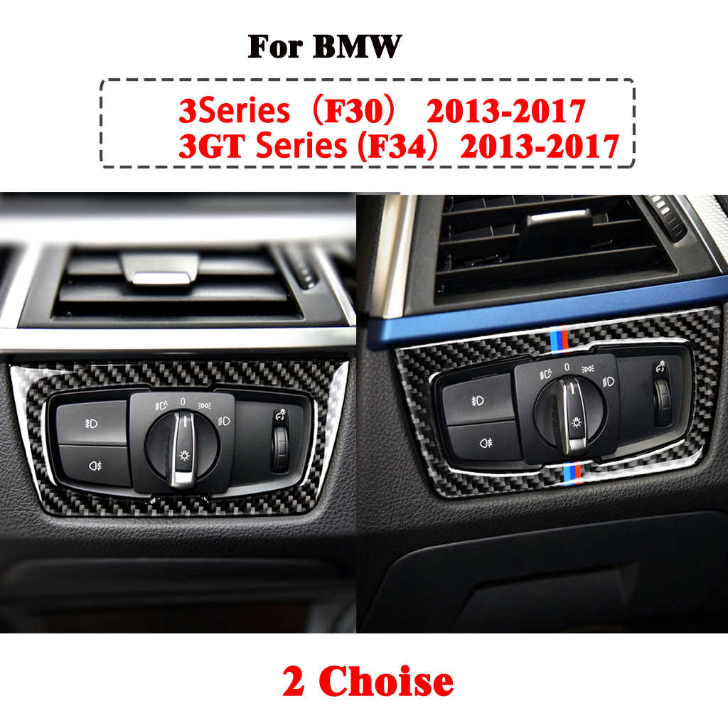 Fibra De Carb Accesorios De Autom/óvil Interruptor De Faro YNWW Cubierta De Bot/ón De Interruptor De Faro De Fibra De Carbono Marco Decorativo Apto para BMW F15 F20 F30 F32 F34 1 3 4 Series 2013-2019