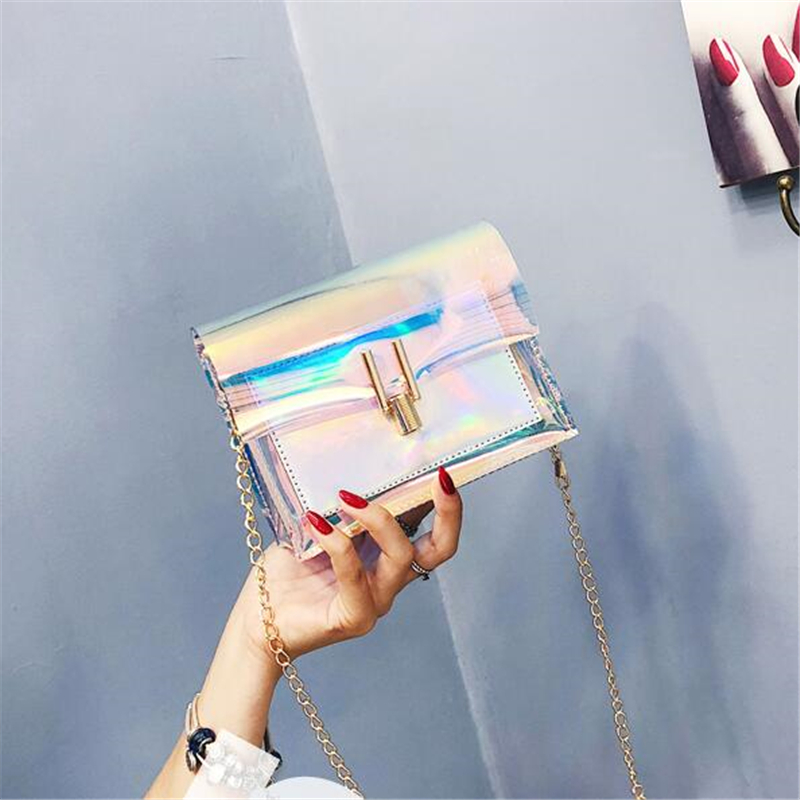 Laser Crossbody Bags For Women 2019 Transparent Shoulder Bags Small Jelly Messenger Bag PVC Waterproof Messenger Shoulder Bag