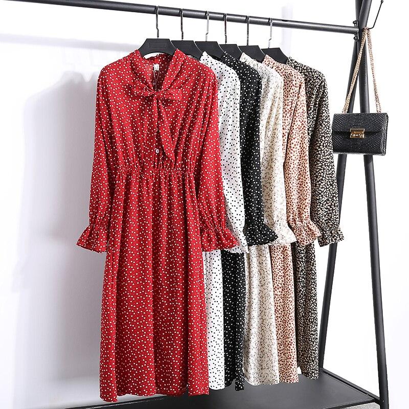 2019 New Women Spring Print Dresses Long Sleeve Chiffon Split Dress Casual High Waist Ruffles Flare Sleeve Dress Female Vestidos
