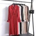 2019 nouvelles femmes printemps imprimer robes à manches longues en mousseline de soie Split robe décontracté taille haute volants Flare manches robe femme Vestidos|Robes| |  -