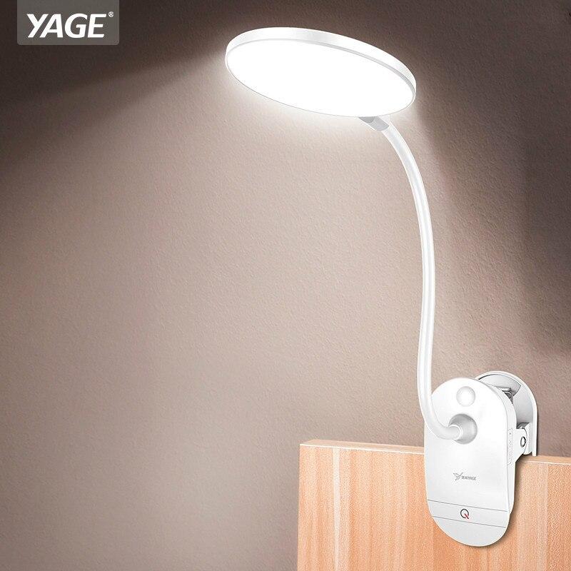 YAGE Gooseneck Wireless Table Lamp 18650 Rechargeable Led Desk Lamp Clip Touch Study Lamps Table Desktop USB 3 Modes Table Light