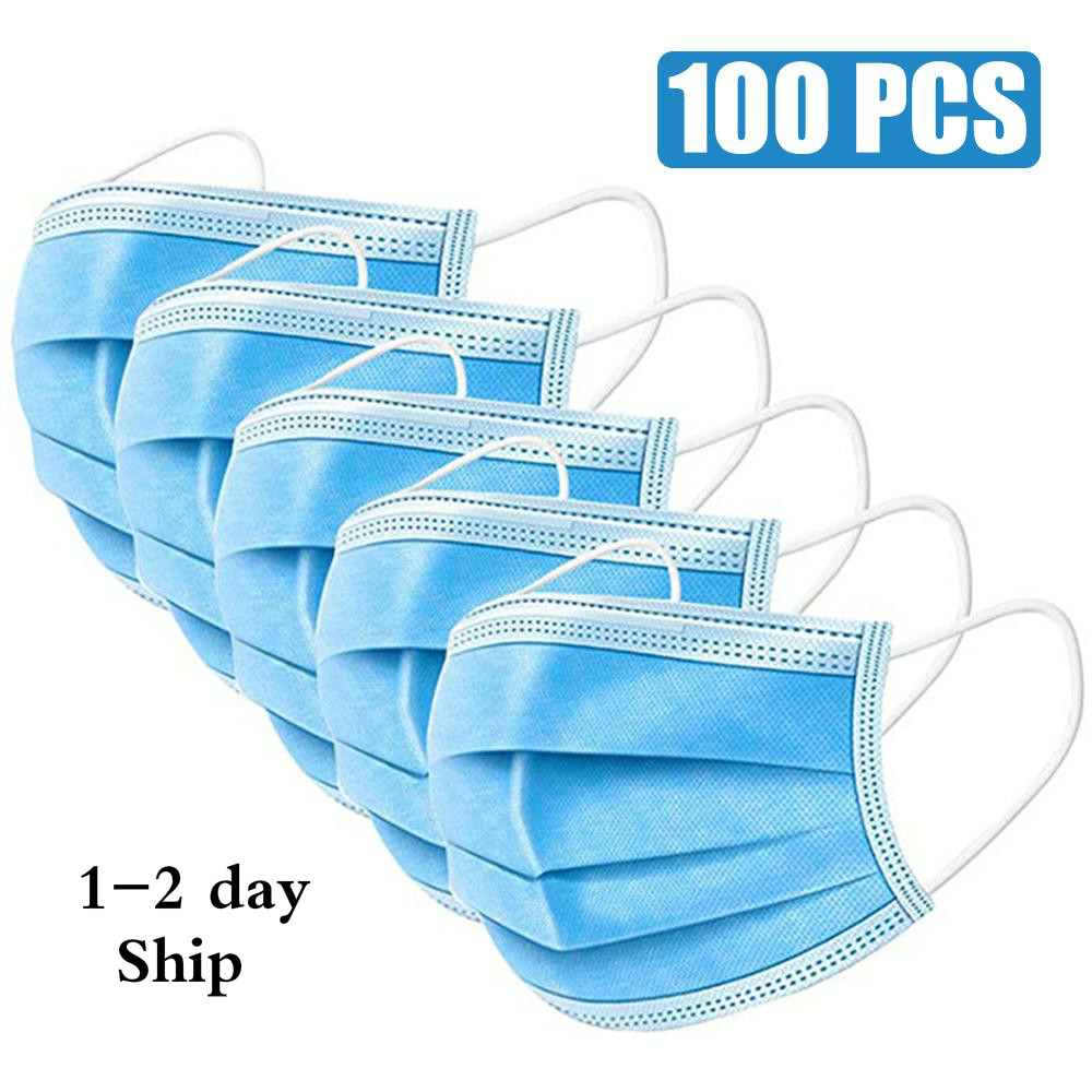 100PCS Face Mouth Anti Virus Safety Mask Disposable Protect 3 Layers Filter Dustproof Earloop Non Woven Mouth Masks Wholesale