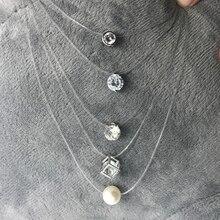 SUMENG Новое индивидуальное модное квадратное ожерелье с искусственным жемчугом ожерелье с кристаллами из циркона невидимая прозрачная рыболовная леска Женское Ожерелье