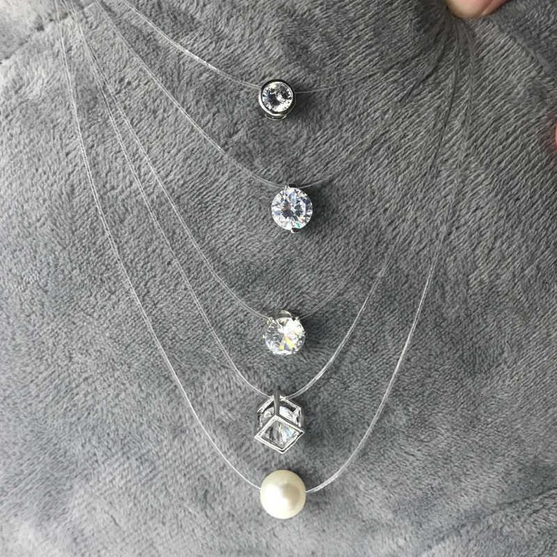 SUMENG nueva personalidad moda cuadrada imitación perla cristal circón collar Invisible transparente línea de pesca collar mujeres