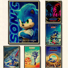 2020 new movie Sonic the Hedgehog Retro Poster kraft Paper Prints Clear Image room Bar Home Art painting wall sticker