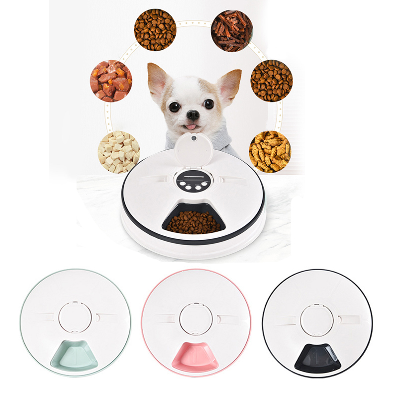 Automatic Pet Feeder Timing Feeder 6 Meals 6 Grids Cat Dog Electric Dry Food Dispenser Dish Feed 24 Hours Timer Pet Supplies