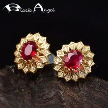 Женские серьги гвоздики с красным турмалиновым камнем и цветком