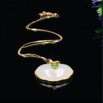 Natural Chinese HeTian White Jade Ancient Meaning Of Safety Buckle Pendant Beautiful 925 Silver Necklace For Men Women Fashion C
