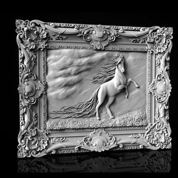Niesamowity koń w ramie 3d model pliku STL CNC router grawerowanie rzeźba projektu tanie i dobre opinie