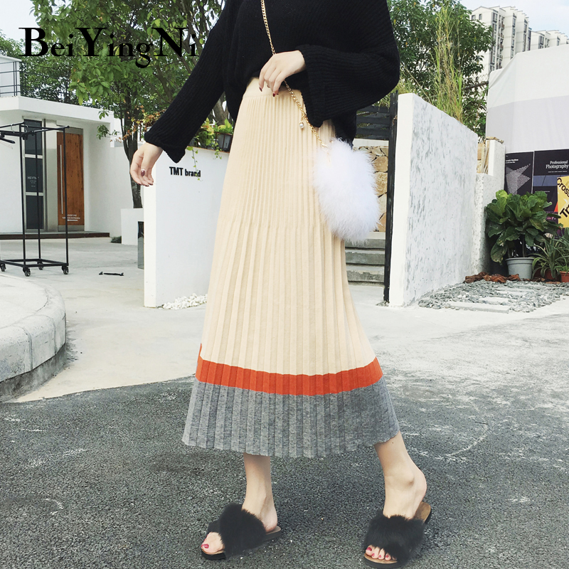 Beiyingni 2019 Spring Autumn Women Skirt Contrast Color Long Knit Retro Elegant Midi Skirts Casual Elastic High Waist Skirt Lady