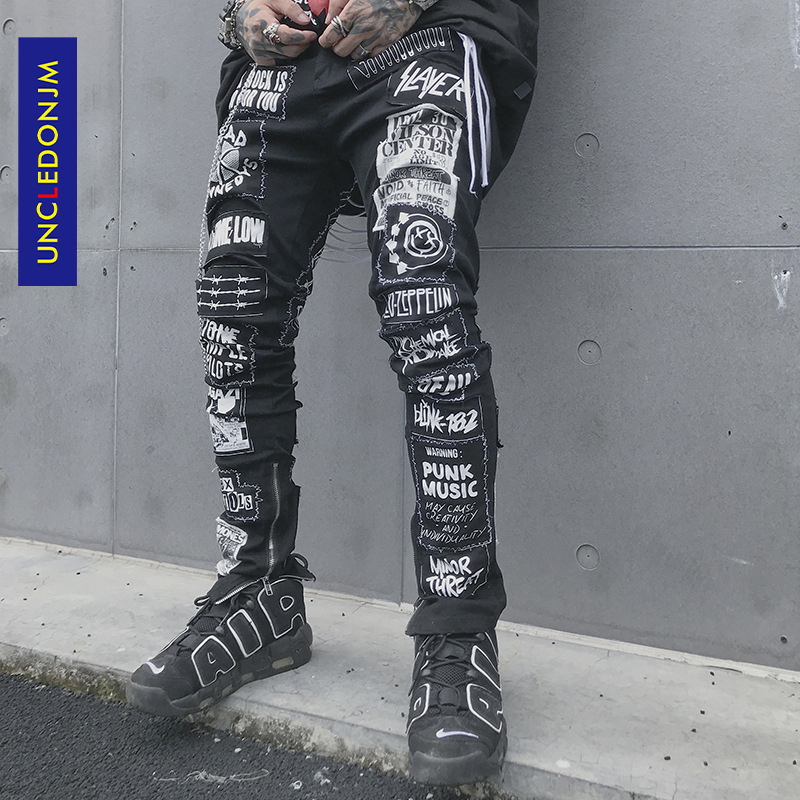 UNCLEDONJM Men's Casual Black Jeans 2020 Men Skinny Slim Fit Zip Ripped Distressed Jeans Denim Pants Vintage Long Trousers BD007