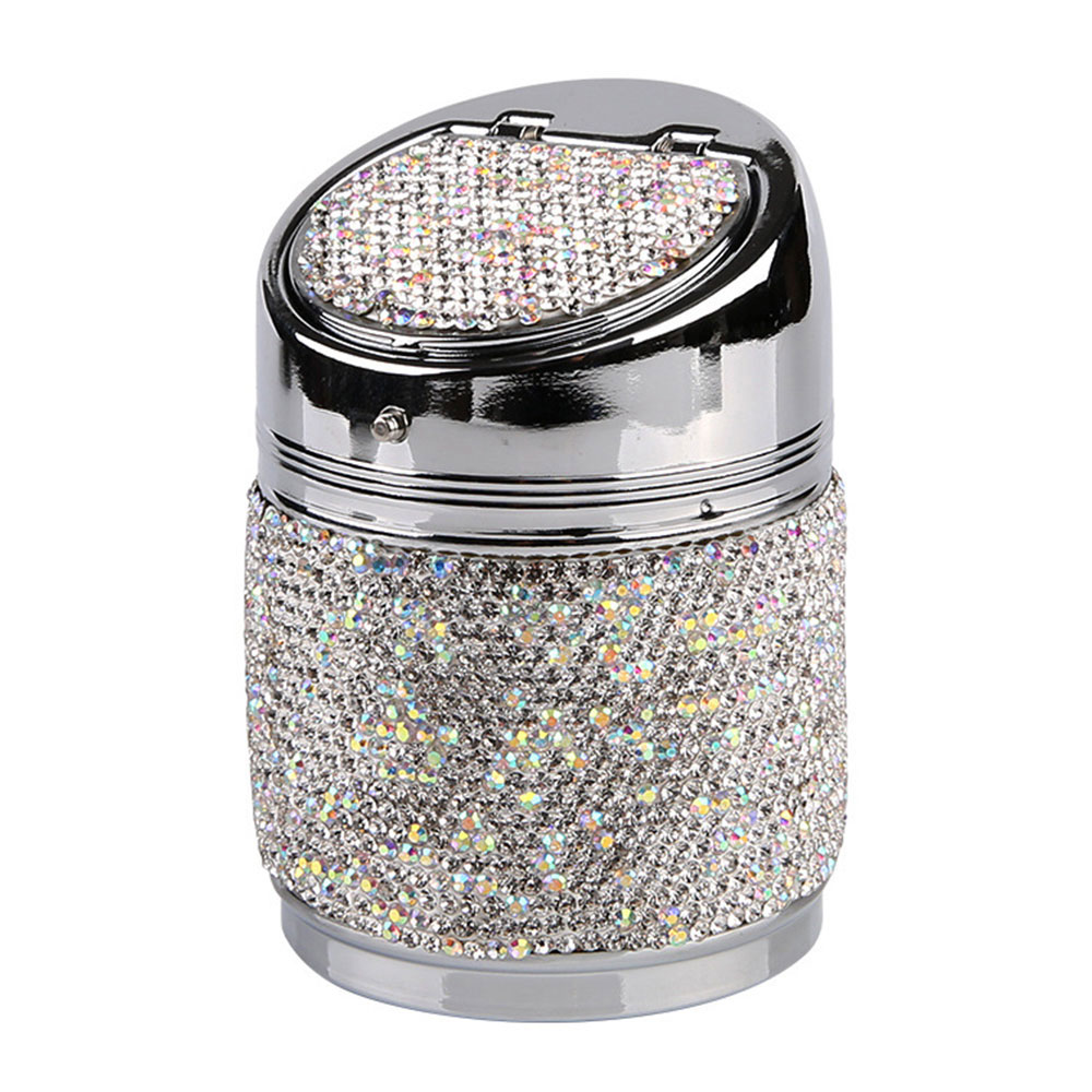 Car Ashtray Handcraft Style Portable Metal Crystal Bling Bling Rhinestones Car Ash Tray Ashtray Ash Storage Cup Car Accessories