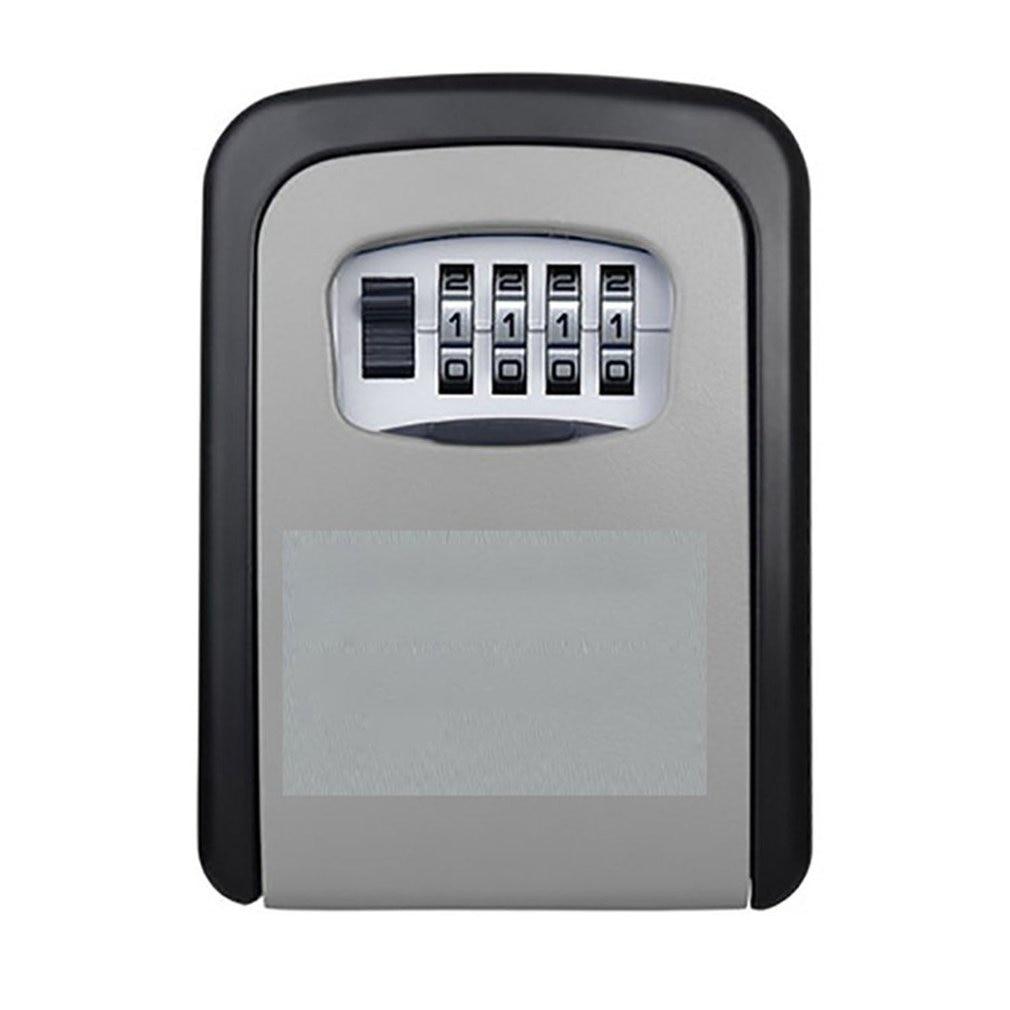 New Key Lock Box Wall Mounted Aluminum Alloy Key Safe Box Weatherproof 4 Digit Combination Key Storage Lock Box Indoor Outdoo