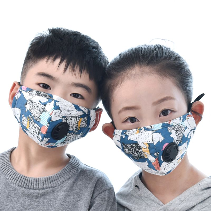 Girls And Boys Winter Cotton PM2.5 Mouth Mask With 2 Filters Exhaust Valve