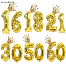 Twins Party 16 18 21 30 40 Years Old Gold Silver Rose Number Balloons Crown Anniversary Decoration Supplies