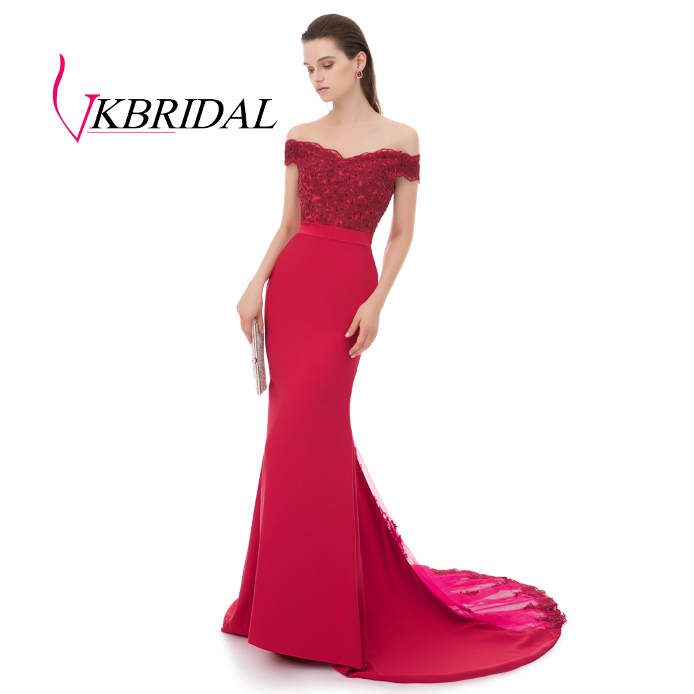 VKBRIDAL Robe De Soiree Red Mermaid Long Evening Dress Party 2019 Elegant Vestido De Festa Longo Formal Prom Gown