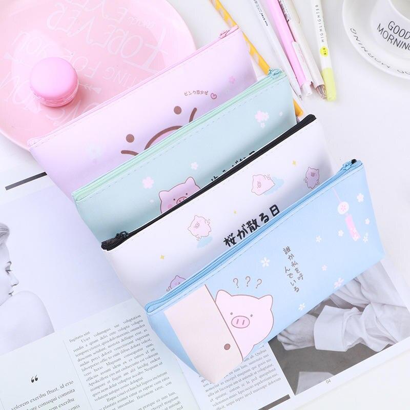 Cartoon Pig Pencil Case For Girls Cute PU Pencil Bag Stationery Pen Pouch Escolar School Office Supplies Pen Purse Bag Box  Gift