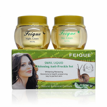 New Arrival FEIQUE snail liquid whitening anti freckle cream 20g+20g 4sets/lot face care