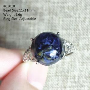 Image 5 - Натуральный Синий пьестерситовый драгоценный камень обходное регулируемое круглое кольцо 11x11 мм из Намибии серебро 925 пробы для женщин и мужчин AAAAA
