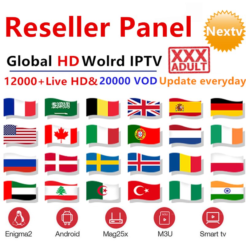 Global HD World IPTV subscription reseller control panel 12000 live xxx m3u arabic europe france german dutch belguim spain iptv