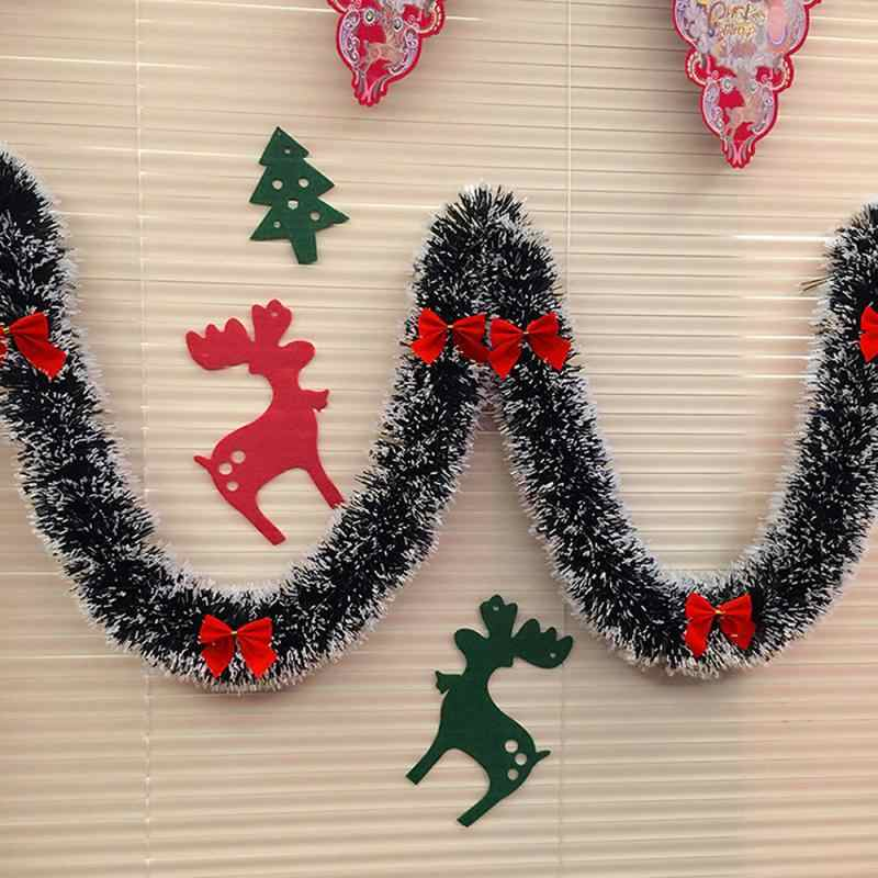 Pop 2 m decoração de natal para barra de tapas fita guirlanda ornamentos árvore de natal branco verde escuro cana enfeites festa suprimentos