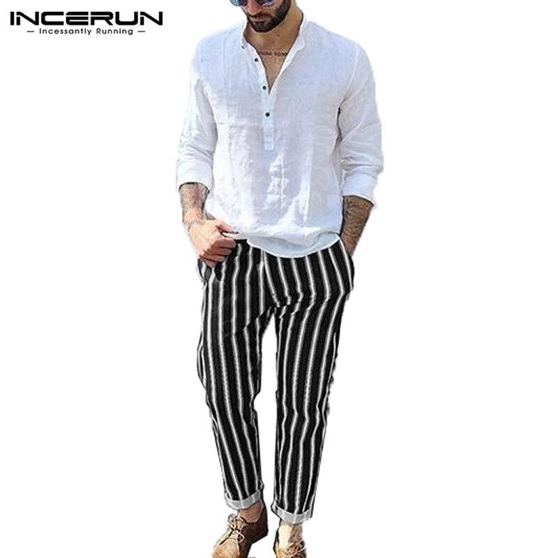 INCERUN England Fashion Striped Men Casual Trousers Elegant Street Mens Social Stretch Elastic Slim Pencil Pants Joggers 2020