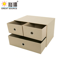 2 Layers Cabinet Office Storage 3 Drawers Cabinet Storage Beige Natural Paper Environment Friendly(Single)