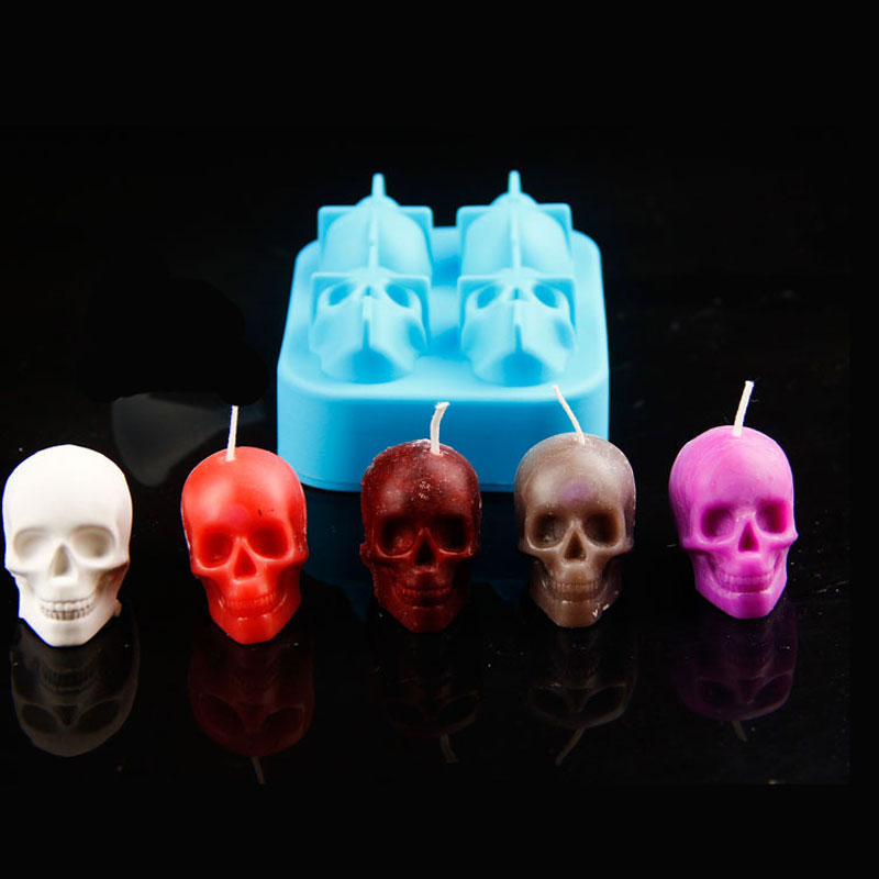 Halloween Party Accessories 3D Skull Silicone Mold For DIY Handmade Craft Candle Making Mould