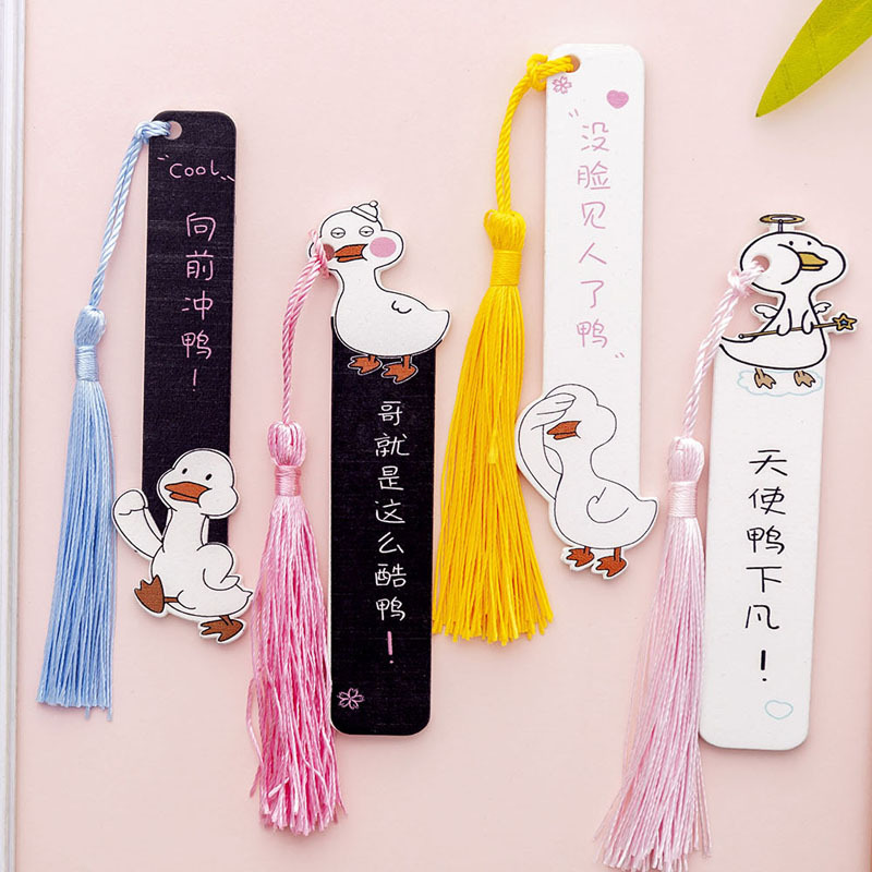 1PC Cartoon Net Red Duck Fringed Wooden Ruler Korean Creativity Student Bookmark Clip Book Folder Teacher Christmas Gifts