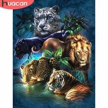 HUACAN-pintura de diamante con Tigre 5d, mosaico artesanal de diamantes, decoración cuadrada completa, para el hogar, leopardo, León de diamantes, bordado de animales
