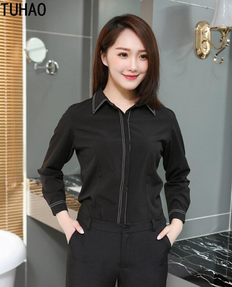 TUHAO bureau dame longs hauts femmes automne mode noir Blouse femmes à manches longues chemises de grande taille 9XL 8XL coréen Vintage Blouses