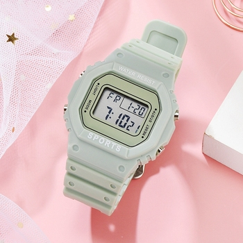 Luxury Women Digital Green Watch Multifunction Waterproof Women Watches Unisex Male Watch Rectangle Children Sport Watches