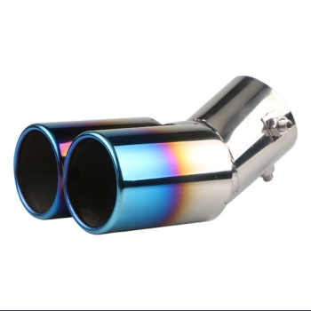 Universal one-out two-baked Tail Throat Stainless Steel Car Rear Dual Exhaust Pipe Modification Tail Muffler Tip Throat Tailpipe image
