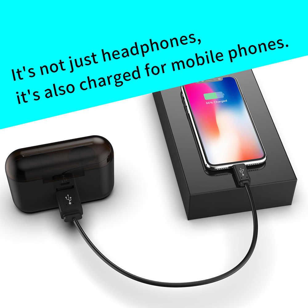 TWS bezprzewodowy/a słuchawki Hifi Stereo Bluetooth ze wzmocnieniem basów V5.0 słuchawki z mikrofonem sportowe zestaw słuchawkowy z ładowarką