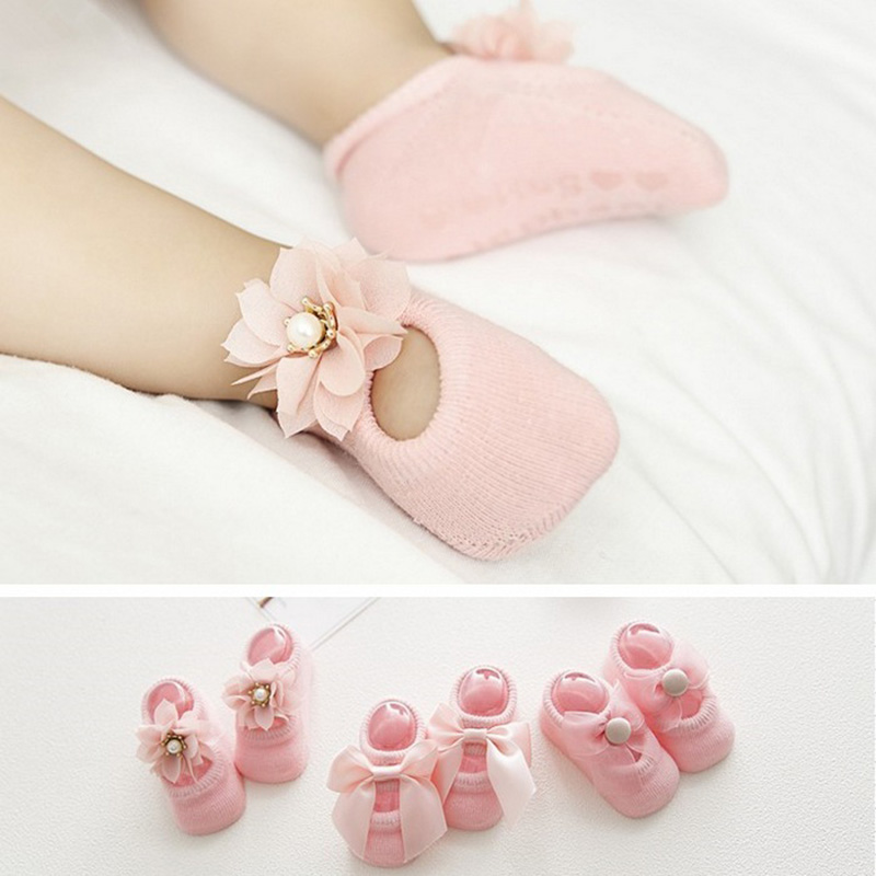 3 Pairs/set Newborn Baby Shoes Lace Flower Bowknot Baby Girl Socks Soft Cotton Rubber Sole Anti Slip Toddler Shoes First Walkers