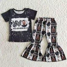 Crianças por atacado bebê meninas boutique roupas preto manga curta música cantor camisa define crianças bell calças roupa da moda