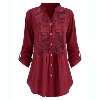Plus Size Blouse women блузка женская Summer autumn tops and blouses Button Lace V Neck Long Sleeve shirts Free shipping #3 2