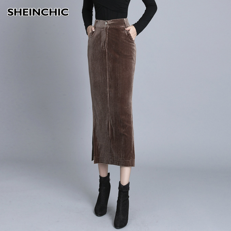 Autumn 2019 Korean New Women Skirt Streetwear Corduroy Long Skirt Elegant Brown Slim High Quality Pencil Skirt Female