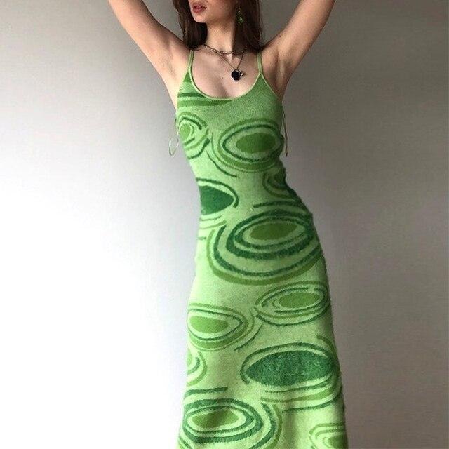 2021 Print Knit Body-con Dress Women Green Summer Hollow Out Sexy Sleeveless Spaghetti Strap Beach Midi Dresses Party Fashion 4