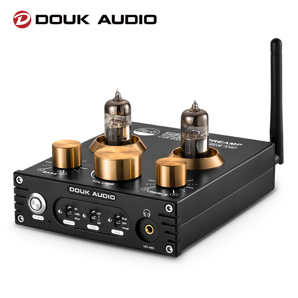 Douk áudio p1 tubo de vácuo alta fidelidade preamp bluetooth 5.0 receptor áudio usb dac fone ouvido amp aptx