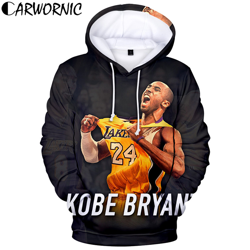 CARWORNIC Lakers 24 Kobe Bryant Hoodies Pullover Men Women Casual Streetwear Hip Hop Sweatshirt 3D Print Spring Fashion Hooded