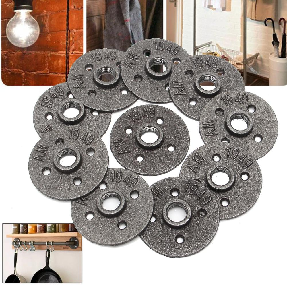 10pcs 1/2 Inch <font><b>DN15</b></font> Cast Iron Steel Tube Pipe Floor <font><b>Flange</b></font> Industrial Style Pipe Fitting Wall Mount image
