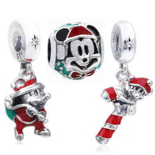 925 Sterling Silver DIY Beads Enamel Christmas Old Man Mickey and Gift Bag Pendant Fits Pandora Charm Bracelets & Necklaces(China)