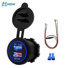 5V 2.4A QC3.0 Center console double USB charger +60cm line, accessories modified