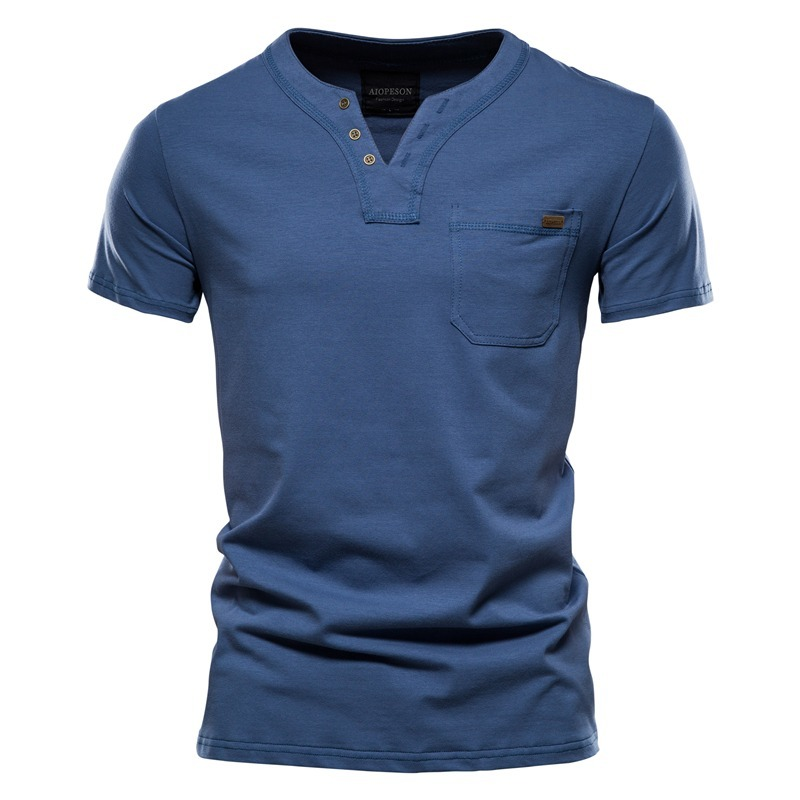 Cotton T-Shirt Tops Men's Clothing Top-Quality Classic Design Solid-Color Casual V-Neck