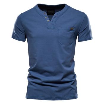 2021 letni Top Quality Cotton T Shirt mężczyźni jednolity kolor koszulka z dekoltem w serek Casual klasyczna odzież męska topy Tee Shirt Men tanie i dobre opinie NEGIZBER SHORT CN (pochodzenie) Stretch Spandex summer Na co dzień V-neck conventional Sukno Stałe 95 cotton 5 Lycra