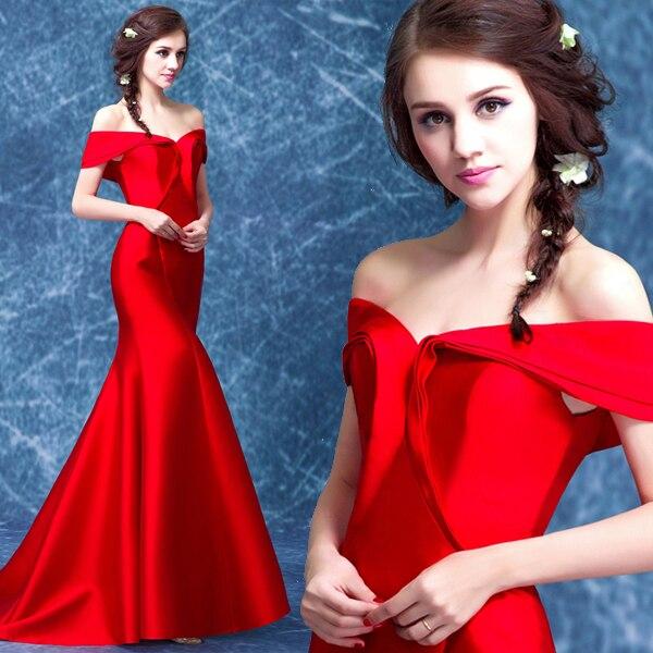 Hot Sexy Mermaid Evening New Design Red Satin Prom Long Cap Sleeve Vestido De Festa Longo Robe De Soiree Mother Of Bride Dresses