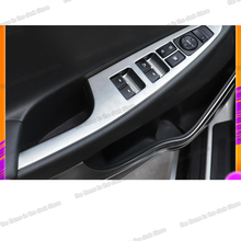 Lsrtw2017 Stainless Steel Car Window Control Panel Trims for Hyundai Tucson 2015 2016 2017 2018 2019 2020 Interior Accessories lsrtw2017 stainless steel car lower window trims for peugeot 5008 accessories