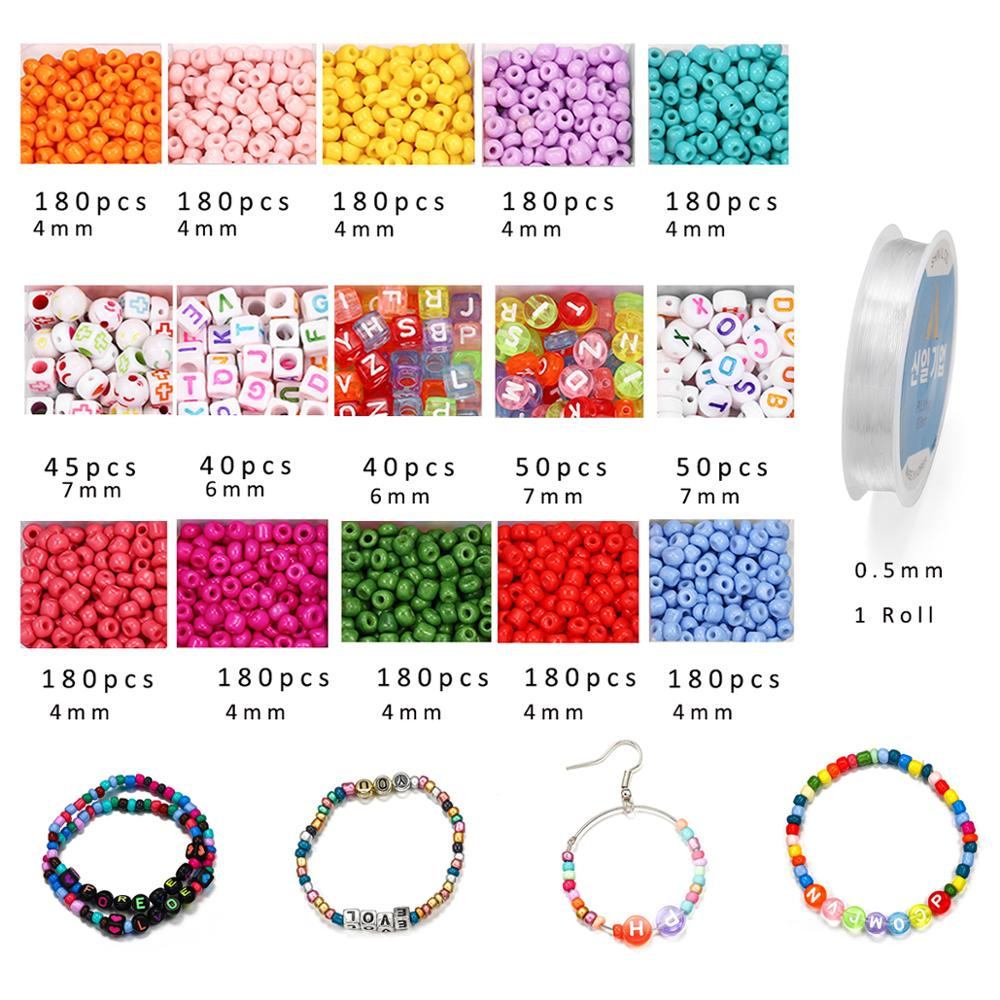 2020pcs Mix color Letter Beads Jewelry Making Supplies Kit Beads Wire for Bracelet DIY Earrings Making Kit Jewelry Finding 3