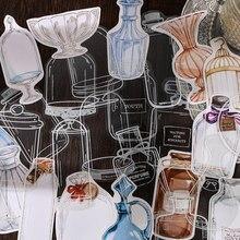 30 sztuk Vintage Frame Deco Retro artykuły biurowe naklejki Bullet Journal Scrapbooking szklane butelki naklejki z kartą kolażu